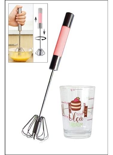 Kitchen Love 2 Parça Set-1 Adet Ölçü Bardağı+Metal-Bas Çek Silikonlu Çırpıcı Renkli